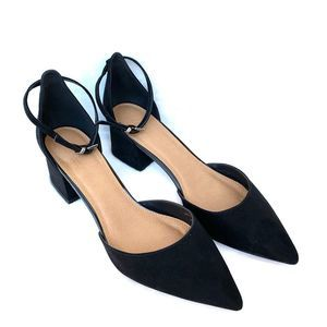 Asos Black Pointed Toe Sling Back Suede Heels